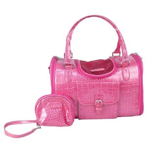 Insten Hot Pink Fashion Faux Crocodile Pet Carrier/Tote/ Travel Handbag - Multi