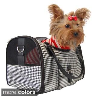 Anima Classic Houndstooth Fashion Barrel Style Shape Dog Travel Carrier