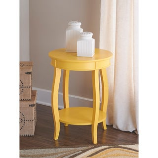 Powell Ariana Yellow Round Table with Shelf