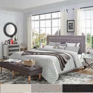 Bellevista Square Button-tufted Upholstered Queen Bed by iNSPIRE Q Bold|https://ak1.ostkcdn.com/images/products/P16577707m.jpg?impolicy=medium