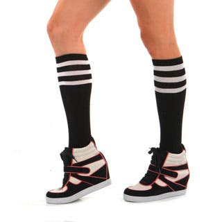 Angelina Hoisery Black Referee Knee-high Socks with Colored Stripes (Option: Yellow)|https://ak1.ostkcdn.com/images/products/P16584906m.jpg?impolicy=medium