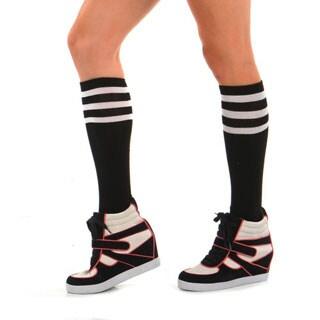 Angelina Hoisery Black Referee Knee-high Socks with Colored Stripes