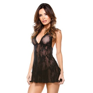 Fantasy Lingerie 'Flirty Flair' Black Lace Halter Dress and Matching G-string (One Size)