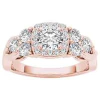 De Couer 14k Rose Gold 1 1/2ct TDW Diamond Halo Engagement Ring