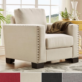 INSPIRE Q Torrington Linen Nailhead Track Arm Accent Chair
