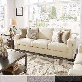 white couch living room. Torrington Linen Nailhead Track Arm Sofa by iNSPIRE Q Classic White Sofas  Couches Loveseats For Less Overstock com