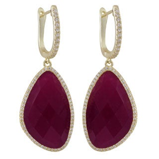 Luxiro Gold over Sterling Silver Semi-precious Stones with Cubic Zirconia Dangling Earrings