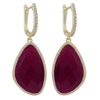 Gold over Sterling Silver Semi-precious Stones with Cubic Zirconia Dangling Earrings|https://ak1.ostkcdn.com/images/products/P16589675m.jpg?impolicy=medium