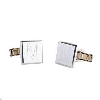Handmade .925 Sterling Silver Monogrammed Square Cuff Links (Mexico) (More options available)