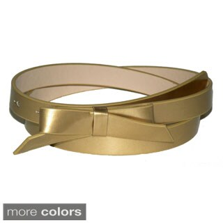 Patent Leather Skinny Bow Belt (Option: Green)