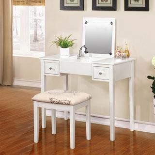 Laurel Creek Zadie White Vanity Table With Mirror U0026 Stool
