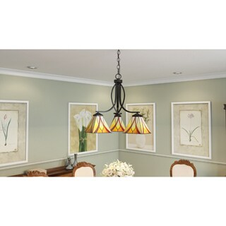 Quoizel Asheville 3-light Valiant Bronze and Art Glass Dinette Chandelier