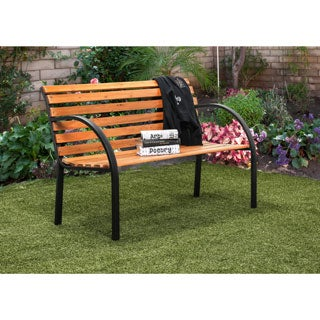 Furniture of America Modesto Curved Natural Oak Outdoor Bench