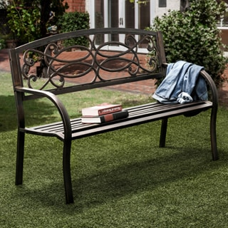 Furniture of America Flints Bronze Iron Outdoor Garden Bench