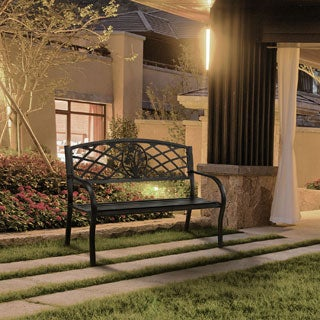 Furniture of America Narcissus Black Outdoor Bench