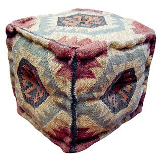 Herat Oriental Handmade Indo Kilim Upholstered Puff Ottoman