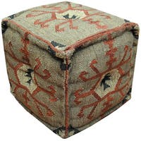 Handmade Herat Oriental Indo Handmade Ottoman Pouf (India)