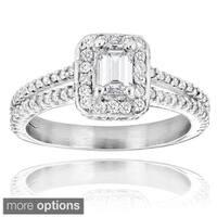 Luxurman 14k Gold 1 1/5ct Emerald-cut Diamond Engagement Ring