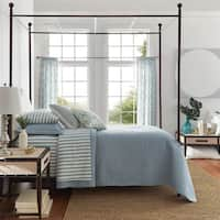 Andover Cream Linen Curved Headboard Cherry Brown Canopy Poster Bed by iNSPIRE Q Classic