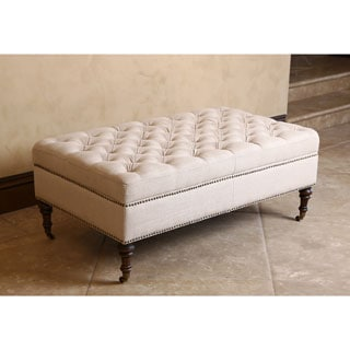 ABBYSON LIVING Monica Pedersen Beige Tufted Linen Storage Ottoman by