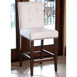ABBYSON LIVING Monica Pedersen Ivory Tufted Linen Counter Stool by