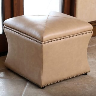 ABBYSON LIVING Monica Pedersen Camel Leather Storage Ottoman by