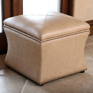 Abbyson Monica Pedersen Camel Leather Storage Ottoman