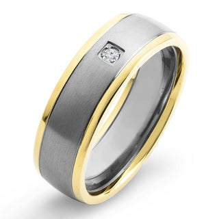 Crucible Two Tone Dual Finish Titanium 0.03 CTTW Diamond Grooved Comfort Fit Ring - 6mm Wide