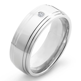 Crucible Polished Titanium 0.03 CTTW Diamond Ridged Comfort Fit Ring - 8mm Wide