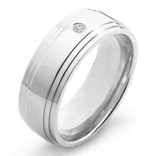Crucible Polished Titanium 0.03ct. TW Diamond Ridged 8mm Wide Comfort Fit Band (H-I, SI1-SI2) (5 options available)