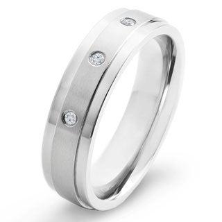 Men's Crucible Dual Finish Titanium 1/20CTtw Diamond Accent 6mm Wide Comfort Fit Ring (H-I, SI1-SI2)