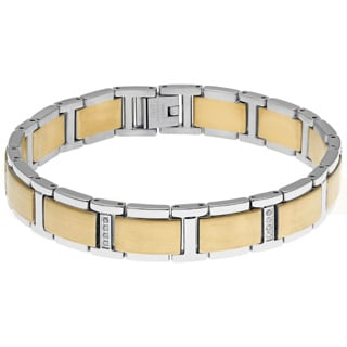 Stainless Steel Gold Ionic-plating Accent Link Bracelet