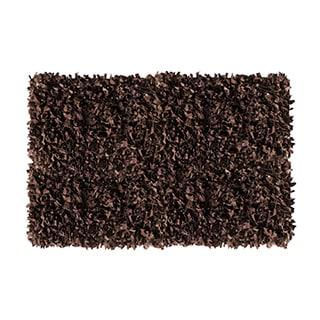 Dark Brown Leather Shaggy Area Rug (8' x 10')
