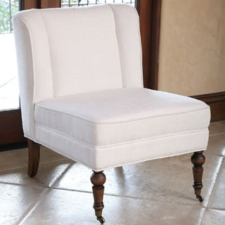 Abbyson Monica Pedersen Ivory Linen Wingback Slipper Chair