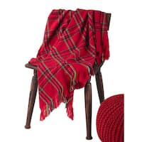 Classic Red Plaid Woven Throw Blanket