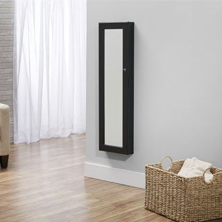 InnerSpace Black Over-the-Door / Wall-Hang Mirrored Jewelry Armoire Collection