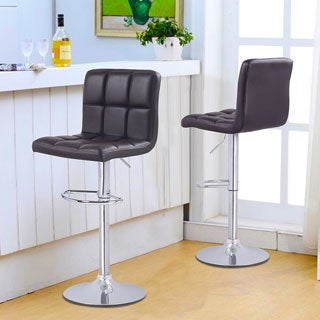 Adeco Brown Faux Leather, Chrome Base, Adjustable Barstools (Set of 2)
