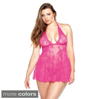 Fantasy Lingerie Plus Size Stretch Lace Halter Chemise and Matching G-string