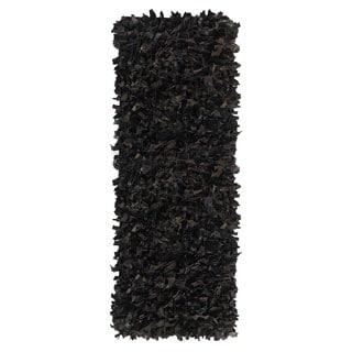 Leather Shagg Black Area Rug (2' x 6 ')
