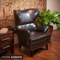 Warner Bonded Leather High Back Chair by Christopher Knight Home