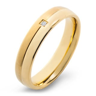 Crucible Gold Plated Dual Finish Titanium 0.02 CTTW Diamond Grooved Comfort Fit Ring - 5mm Wide