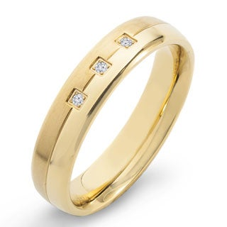 Crucible Gold Plated Dual Finish Titanium 1/20ct. TW Diamond Accent Grooved 5mm Wide Comfort Fit Band (H-I, SI1-SI2) - White