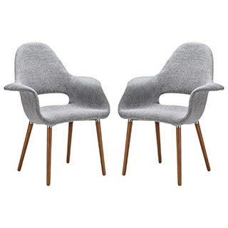 The Barclay Light Grey Organic Style Dining Arm Chair (Set of 2)