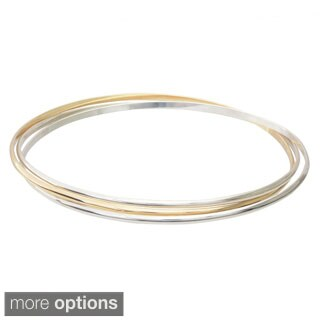 Journee Collection Sterling Silver Handcrafted Bangle Bracelets