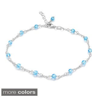 Sterling Silver Crystal Beaded Anklet