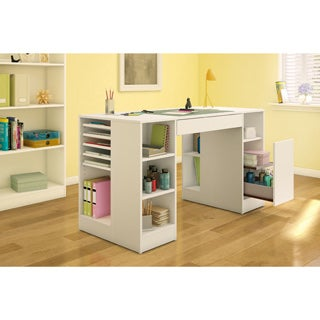 South Shore Crea Collection Pure White Craft Hobby and Sewing Table (Option: White)