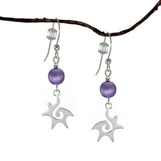 Jewelry by Dawn Sterling Silver Purple Starburst Dangle Earrings
