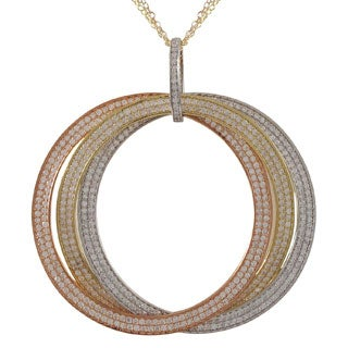 Luxiro Sterling Silver Tri-color Cubic Zirconia Large Link Pendant Necklace