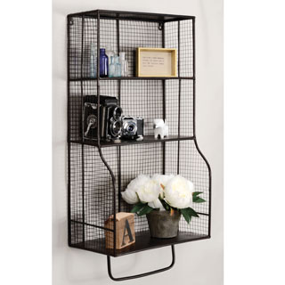 Linon 17 x 31-inch Distressed Metal Wall Storage Organizer