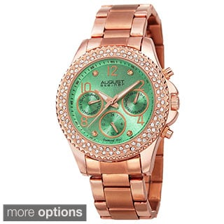 August Steiner Women's Swiss Quartz Diamond Green Bracelet Watch